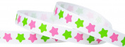 Hip Girl Boutique 5yd 1cm Rock Star Grosgrain Ribbon--White/Hot Pink+Apple Green