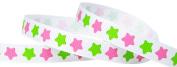 Hip Girl Boutique 5yd 1cm Rock Star Grosgrain Ribbon--White/Hot Pink+Apple Green