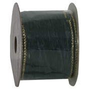 Green with Gold Trim Wide Ribbon - 6.4cm wide x 9 feet
