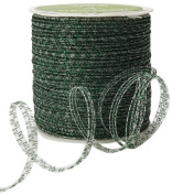 May Arts 0.3cm Wide Ribbon, Green Curly Sparkling
