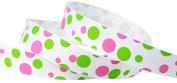 Hip Girl Boutique 5yd 1.6cm Dippin' Dot Grosgrain Ribbon--White/Hot Pink+Apple Green