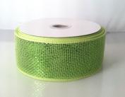 Apple Green Metallic Deco Mesh Ribbon 6.4cm x 25 Yd