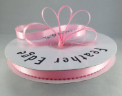 1cm Pink Double Faced Satin Ribbon with PICOT Feather Edge 50 Yard Spool 100% Polyester