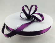 1cm Plum Double Faced Satin Ribbon with PICOT Feather Edge 50 Yard Spool 100% Polyester