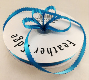 1cm Turquoise Double Faced Satin Ribbon with PICOT Feather Edge 50 Yard Spool 100% Polyester
