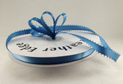 1cm Antique Blue Double Faced Satin Ribbon with PICOT Feather Edge 50 Yard Spool 100% Polyester