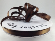1cm Brown Double Faced Satin Ribbon with PICOT Feather Edge 50 Yard Spool 100% Polyester