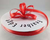 1cm Coral Double Faced Satin Ribbon with PICOT Feather Edge 50 Yard Spool 100% Polyester