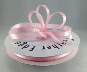 1cm Light Pink Double Faced Satin Ribbon with PICOT Feather Edge 50 Yard Spool 100% Polyester