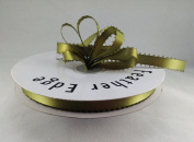 1cm Moss Green Double Faced Satin Ribbon with PICOT Feather Edge 50 Yard Spool 100% Polyester Double Faced