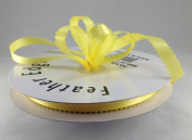 1cm Canary/Yellow Double Faced Satin Ribbon with PICOT Feather Edge 50 Yard Spool 100% Polyester