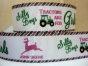 5 yards 2.5cm Silly Boys Tractors are for Girls Grosgrain Ribbon