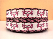 5 yards 2.5cm Deer Pink Skull Hunting Camo Grosgrain Ribbon