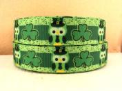 5 yards 2.5cm St Patricks Day Owl Shamrocks Grosgrain Ribbon