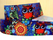 5 yards 7/8 Colourful Owl Grosgrain Ribbon