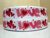 5 yards 7/8 Valentines Day Love and Hearts Grosgrain Ribbon