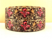 5 yards 2.5cm Brown Real Tree Mossy Oak Pink Fleur De Lis Grosgrain Ribbon