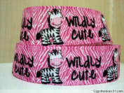 5 yards 7/8 PINK Wildly Cute Zebra Print Grosgrain Ribbon