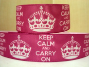 5 yards 7/8 Princess Keep Calm and Carry On Grosgrain Ribbon
