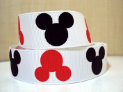 5 yards 7/8 Mickey Mouse Heads Grosgrain Ribbon