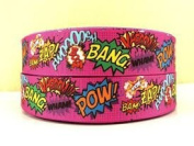 5 yards 2.5cm Pow Bang Zap Bam Superhero Grosgrain Ribbon