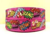5 yards 2.5cm Pow Bang Zap Bam Superhero Grosgrain Ribbon