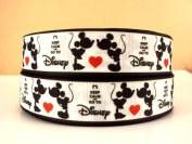 "5 yards 2.5cm Mickey Mouse ""Keep Calm and Go To Disney"" Grosgrain Ribbon"