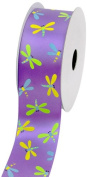 LUV Ribbons Creative Ideas Satin Dragonfly Print Ribbon, 3.8cm , Lavender