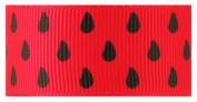 Hip Girl Boutique 5yd 2.2cm Seeds--Watermelon Ribbon-Grosgrain --Red/Black