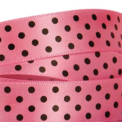 Oparty Single Faced Satin Polka Dot Ribbons 1cm x 100 Yards, Hot Pink/Black