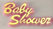 144 pcs Plastic Cake Topper Baby Shower Sign Pink with Gold Favour Decorations
