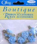 Offray Boutique Craft RIBBON FLOWERS Pack of 6 BLUE Colour FABRIC FLOWERS