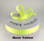2.2cm Neon Yellow Grosgrain Ribbon 50 Yards Solid Colour.