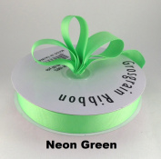 2.2cm Neon Green Grosgrain Ribbon 50 Yards Solid Colour.
