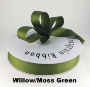 2.2cm Willow/Moss Green Grosgrain Ribbon 50 Yards Solid Colour.