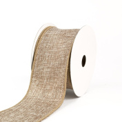 Creative Ideas Wired Burlap Ribbon, 6.4cm , Toffee