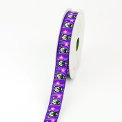 LUV Ribbons Grosgrain Zebra with Flower Print Ribbon, 1.6cm , Purple