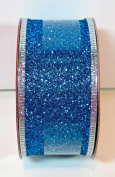 Jo-ann's Holiday Inspirations Ribbon,turquoise Blue Glitter,silver Trim1.13cm x 12ft.