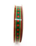 Jo-ann's Holiday Inspirations Green Polka Dot Ribbon,green/red Polka Dots,1cm x 9ft.