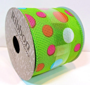 Jo-ann's Ribbon Inspirations,green/pastel Polka Dots,6.4cm x 9ft.