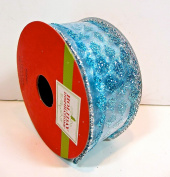 Jo-ann's Holiday Inspirations Blue Glitter Diamonds Ribbon,glitter Blue Diamond Shapes,3.8cm x 12ft. Wire Edge