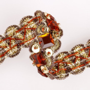 Stunning Ribbon Border with Crystals Embellished for Cocktail Eveningwear Outfit & Indian Sari, Salwar Kameez or Dress Making Crafts; Embroidery on Gold Metallic Ribbon with sequins and beads a Scalloped Edge Selvedge Border.