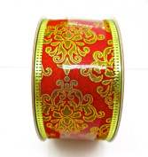 Jo-ann's Holiday Red Damasks Ribbon,red/gold Foil,3.8cm x 12ft.