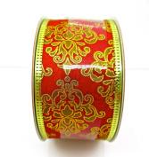 Jo-ann's Holiday Red Damasks Ribbon,red/gold Foil,3.8cm x 12ft.