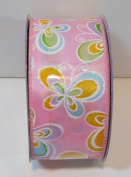 Jo-ann's Holiday Inspirations Easter Ribbon,pink W/butterflies,glitter Accents,3.8cm x 12ft.