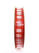 Jo-ann's Holiday Inspirations Red Plaid Ribbon,red/white/silver,1cm x 9ft.
