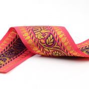 Neotrims 65mm Wide Indian Paisley & Elephant's Decorative Salwar Sari Trimming Ribbon Crafts By The Yard. 2 Amazing Colour Combos; Cerise Pink & Turquoise. Great Price Limited Edition Exclusive Stunning Decorative Border, Non Repeatable.