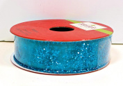 Jo-ann's Holiday Inspirations Blue Glitter Stars Ribbon,sheer Blue with Blue Glitter Stars,2.2cm x 9ft.