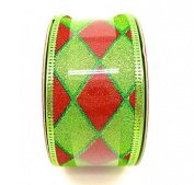 Jo-ann's Holiday Inspirations Ribbon,green/red Glitter Diamond Pattern,3.8cm x 12ft.