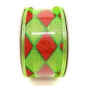 Jo-ann's Holiday Inspirations Ribbon,green/red Glitter Diamond Pattern,3.8cm x 12ft.